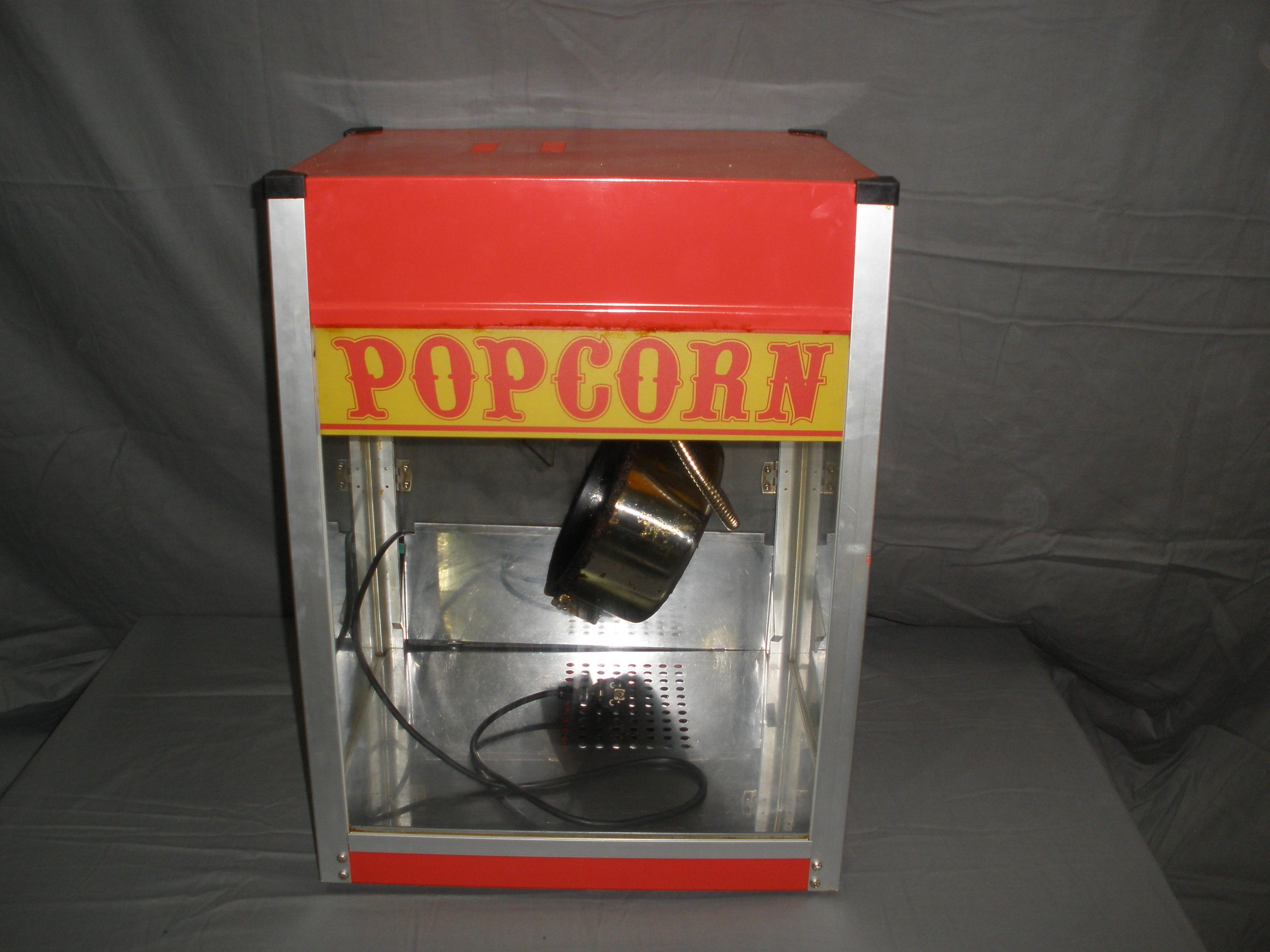 Professionelle Popcornmaschine für kleinere Verkaufsstände. Stromanschluss 230 V. 1500W